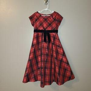 Bonnie Jean Black & Red Plaid Holiday Dress Sz 7